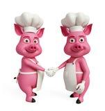 3d cuoco unico Pigs con la posa della stretta di mano Immagini Stock Libere da Diritti