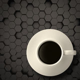3d cup of coffee on matt hexagon steel Stock Images