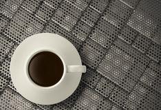 3d cup of coffee on stainless steel Royalty Free Stock Photos