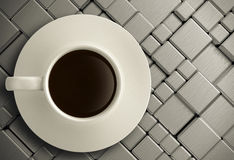3d cup of coffee on stainless steel Royalty Free Stock Image