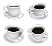 3D Cup of coffee and a sugar cube icon. 3D Icon Design Series. Royalty Free Stock Images
