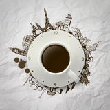 3d cup of coffee traveling around the world Royalty Free Stock Photography