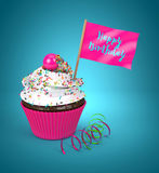 3d cupcake with happy birthday flag. Over blue background Royalty Free Stock Image