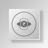 3D Currency eye icon Business Concept. 3D Symbol Gray Square Currency eye icon Business Concept Royalty Free Stock Photography