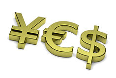 3D Currency Sign Yes Text. 3D Golden Euro Yen and Dollar Currency Sign Composing Yes Text on white background Royalty Free Stock Photography