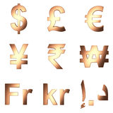 3D currency symbol, Copper satined matterial, PNG transparent background Royalty Free Stock Photos