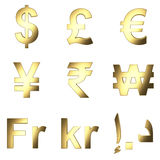 3D currency symbol, Gold satined matterial, PNG transparent background Royalty Free Stock Photo