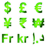 3D currency symbol, Green satined matterial, PNG transparent background Stock Photo