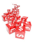 3d Currency symbol red dice Stock Photo