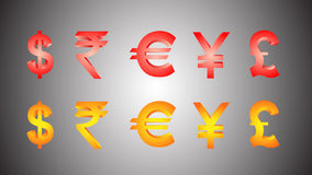 3d Currency Symbols. Fully editable illustration of  Currency Symbols in vector format Royalty Free Stock Photography