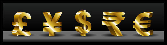3D currency symbols Stock Photography