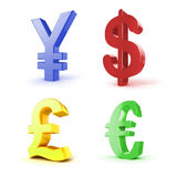 3d currency symbols Stock Photo