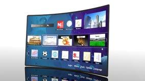 3D curva TV elegante con los iconos