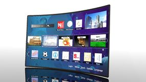 3D curve smart tv with icons Royalty Free Stock Photos