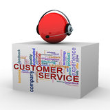 3d customer help and support. 3d illustration of sphere with headphone over customer support wordcloud word tags Royalty Free Stock Image