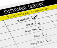 3d customer service evaluation form. 3d illustration of customer service survey form with tick placed in excellent checkbox Stock Photo