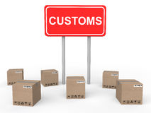 3d customs sign board with shipping cartons Stock Photography