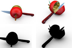 3d cut apple concept collections with alpha and shadow channel Stock Images