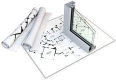 3d cut of window profile and blueprints Stock Photo