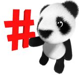 3d Cute and adorable baby panda bear character holding a hashtag symbol. 3d render of a cute and adorable baby panda bear character holding a hashtag symbol Royalty Free Stock Images