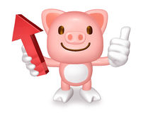 3d cute apricot pig holding red arrow Stock Photography