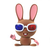3d Cute cartoon bunny rabbit wearing 3d glasses and waving hello Stock Photo