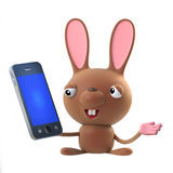 3d Cute cartoon Easter bunny rabbit character has a smartphone tablet device Stock Photography