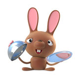 3d Cute cartoon Easter bunny rabbit character offers silver service Royalty Free Stock Photography