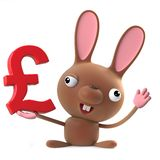 3d Cute cartoon Easter bunny rabbit holding UK Pounds Sterling currency symbol. 3d render of a cute cartoon Easter bunny rabbit character holding a UK Pounds vector illustration