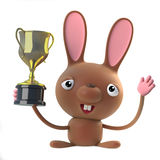 3d Cute cartoon Easter bunny rabbit wins the gold cup trophy Stock Photo