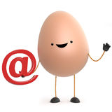 3d Cute cartoon egg character holding an email address symbol Stock Images