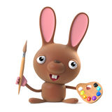 3d Cute Easter bunny rabbit is an artist Stock Images