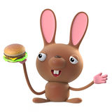 3d Cute Easter bunny rabbit eating a beef burger Royalty Free Stock Images