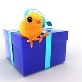 3d Cute Easter chick sits on a blue gift Stock Photography