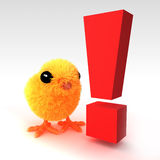 3d Cute Easter chick is surprised stock illustration