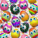 3d Cute Easter Eggs Cartoon. Cute, Fun and Colorful little Easter Eggs Cartoon all made on 3d digital art design, assembled on a Fresh Spring Floral Pattern Stock Photo