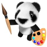 3d Cute and funny baby panda bear character painting with a brush and palette. 3d render of a cute and funny baby panda bear character painting with a brush and Stock Photography