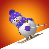 3d cute funny skiing snowman. Christmas greeting card with 3d cartoon snowman sliding down the hill royalty free illustration