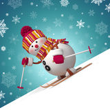 3d cute funny skiing snowman. Christmas greeting card with 3d cartoon snowman sliding down the hill vector illustration