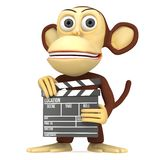 3d cute monkey with clapper board Stock Image