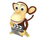 3d cute monkey with clapper board Stock Photo