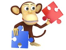 3d cute monkey with red and blue puzzle pieces. 3D render isolated on white Stock Photography