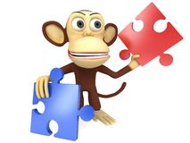 3d cute monkey with red and blue puzzle pieces. 3D render isolated on white Royalty Free Stock Photography