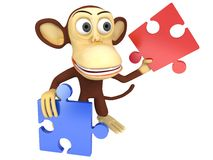 3d cute monkey with red and blue puzzle pieces. 3D render isolated on white Stock Images