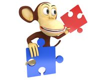 3d cute monkey with red and blue puzzle pieces. 3D render isolated on white Stock Image