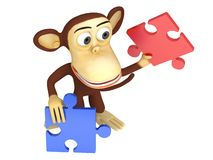 3d cute monkey with red and blue puzzle pieces. 3D render isolated on white Royalty Free Stock Image