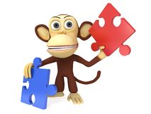3d cute monkey with red and blue puzzle pieces. 3D render isolated on white Royalty Free Stock Images