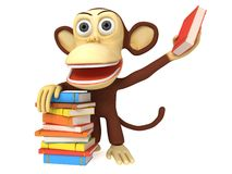 3d cute monkey with stack of books Royalty Free Stock Image