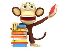 3d cute monkey with stack of books Royalty Free Stock Photo