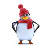 3d Cute penguin dressed for the winter in wool hat and scarf Royalty Free Stock Images